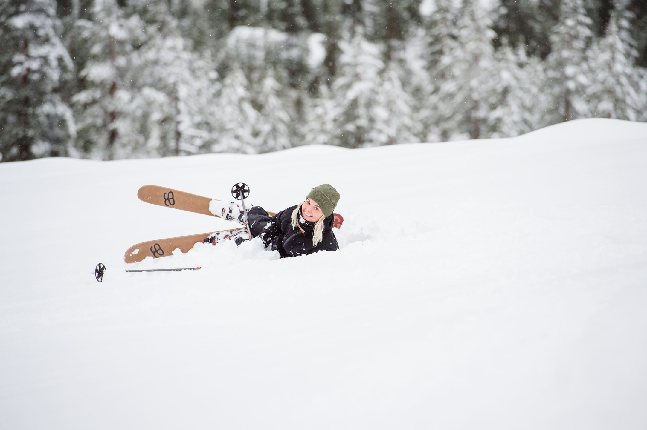 A woman cross-country skiing during Winter